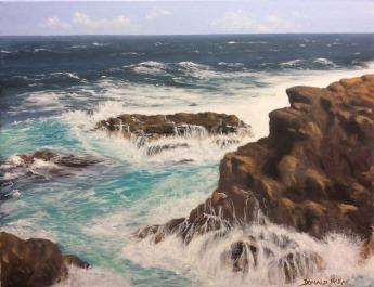"Sold - 'Rough Seas at Portballintrae', North Antrim Coast, Northern Ireland. 14""x18"" oil on canvas."