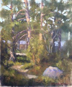 "Sold - 'Anni's path', Gisesjon lake, Sodermanland, Sweden. 10""x12"" oil on board."