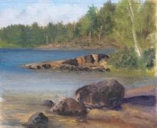 """Evening Light, Gisesjon Lake, Sodermanland, Sweden 12""""x10"""" Alla Prima oil on board"""