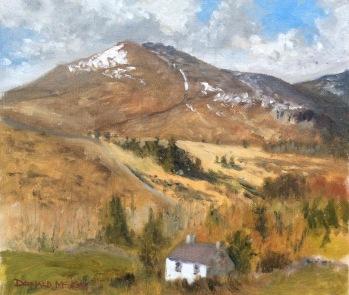 "Slieve Binnian South Tor, Mourne Mountains, Northern Ireland 12""x10"" plein air oil on board"