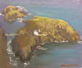 """Salmon Fishery and Rope Bridge, Carrick-A-Rede, Antrim Coast 12""""x10"""" Alla prima oil on gesso board"""