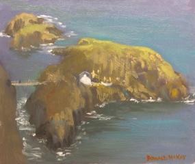 "Salmon Fishery and Rope Bridge, Carrick-A-Rede, Antrim Coast 12""x10"" plein air oil on gesso board"