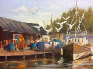 "Sold - 'Pettersson's Fishing Boats', Hummelvik, Sweden 16""x12"" oil on linen board"