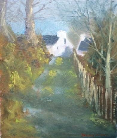 "George's cottage, Hannes Close, Mourne Mountains 10""x12"" alla prima oil on gesso board"
