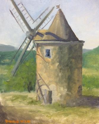 """Le Moulin, Saint-Saturnin-les-Apt 12""""x10"""" alla prima oil on board"""