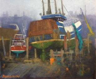 "'On the Slip', Kilkeel Harbour 10""x12"" plein air oil on board"