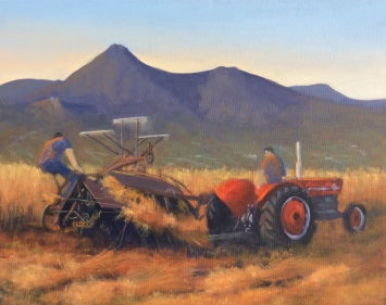 """Sold - 'Threshing the Corn', Mourne Vintage Club, Mourne 16""""x20"""" oil on canvas"""