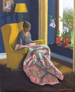 """Sold - 'The Quilter' 24""""x20"""" oil on canvas"""