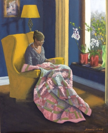 """'The Quilter' 24""""x20"""" oil on canvas"""
