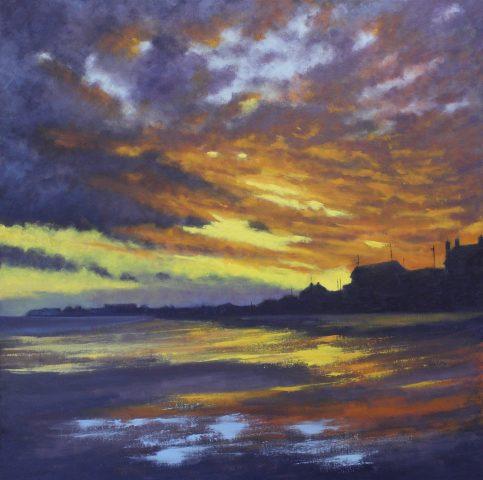 "Sold - 'Beach Sunset' 24""x24"" oil on box canvas"