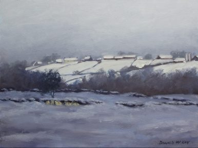 """'Finding Shelter', Carrigenagh, Mourne 12""""x16"""" oil on gesso board"""
