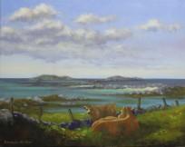 """'Mother & Calf', Ballyconeely, Connemara 16""""x20"""" oil on canvas"""