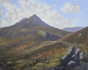 """'Along the Brandy Pad' Mournes 16""""x20"""" oil on canvas"""